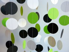 Green White Black Paper Garland, Birthday Decorations, Fathers Day, Nursery…