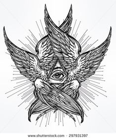 All seeing Eye of Providence. Hand drawn vintage style winged Angel eye. Alchemy, religion, spirituality, occultism, tattoo art. Isolated vector illustration. Biblical Seraphim deity. Omnipotence.