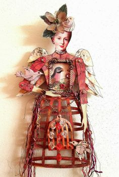 By Marie Garot using the Large Dress Form Art Doll Shrine Kit, Marie Doll Head Paper Cuts, and more from Retro Café Art Gallery. www.RetroCafeArt.com