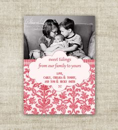 """christmas card holiday greetings family picture card """"sweet tidings....""""  @Cardtopia Designs"""