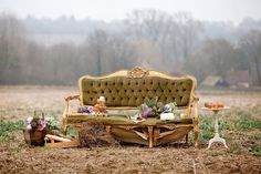 In the field behind the barn. 'Charlotte' the french style sofa.  I'm thinking of leaving her like this!