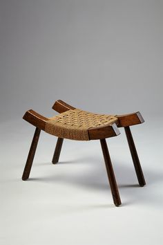Anonymous; Oak and Sea Grass Stool, 1950s.