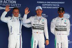 Qualifying: third place Valtteri Bottas, Williams and polesitter Nico Rosberg and second place Lewis Hamilton, Mercedes AMG F1