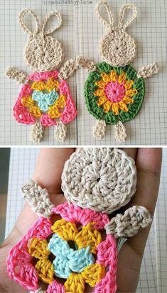 Wild Salt Spirit: How To Make The Crochet Granny Bunny - photo tutorial Crochet Amigurumi, Crochet Bunny, Crochet For Kids, Crochet Flowers, Crochet Toys, Knit Crochet, Small Crochet Gifts, Easter Crochet Patterns, Crochet Motifs