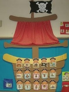 Mrs Jumps class: Pirates and Pete the Cat Pirate Preschool, Pirate Activities, Pirate Day, Pirate Theme, Pirate Decor, Pirate Crafts, Classroom Displays, Classroom Themes, Kindergarten Classroom