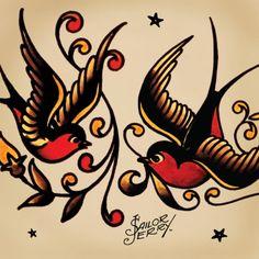 """SWALLOWS Además de indicar que un marinero había navegado 5000 millas, golondrinas también se asocian con la idea de retorno. Este simbolismo """"retorno"""" se basa en dos ideas. El primero fue patrón de migración famosa de la golondrina, siempre volver a casa a San Juan Capistrano. En segundo lugar, se creía que si un marinero muere en el mar, las aves llevan su alma hogar en el cielo."""