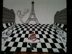 """Paris"" The lonesome Traveler Series  Acrylic on canvas H 20""  W 24""  SOLD JoeyCalveri@gmail.com"