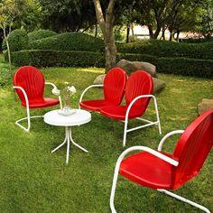 Crosley Griffith 4-Piece Metal Patio Conversation Furniture Set : Target