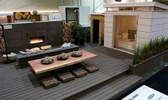 Beispiele Für Moderne Gartengestaltung Holzboden Feuerstelle Gartenmöbel