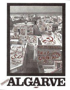 Cartaz de João Abel Manta, 1975. A paisagem: Olhão (as duas janelas pequenas que estão situadas no lado direito pertencem ao edifício do Compromisso Marítimo)