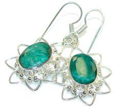 $54.18 Green Island!! Green Emerald Sterling Silver earrings at www.SilverRushStyle.com #earrings #handmade #jewelry #silver #emerald