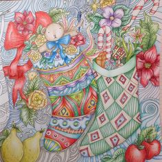 One side is finished. Decided to wait on the 2nd half #themagicalchristmas, #adultcoloringbooks , #coloringbookforadults