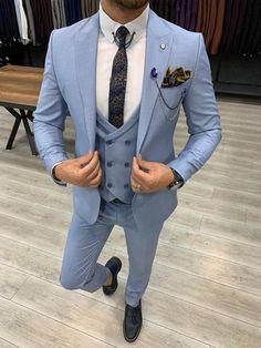 Blue Blazer Outfit, Blazer Outfits Men, Blue Slim Fit Suit, Blue Suit Men, Sky Blue Suit, Mens Suit Colors, Mens Fashion Suits, Mens Suits, Costume Bleu Ciel