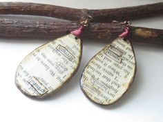 First Anniversary Gift  Paper Jewelry  Rustic Word by PaperMemoirs, $25.00