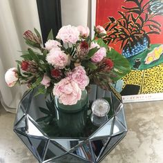 Peonies and modern art. My Flower, Flowers, Peonies, Modern Art, Glass Vase, Table Decorations, Home Decor, Decoration Home, Room Decor