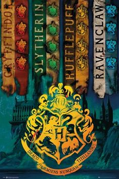 Magically transform any wall into a Hogwarts haven, without any charms or spells! This House Flags poster sees vintage and aged looking Gryffindor, Slytherin, Hufflepuff and Ravenclaw banners in front of a painting of the beautiful school at night. Finished off with the golden Hogwarts crest, this poster will make you feel like you're in the heart of the castle! Official merchandise.