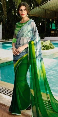 Colorful Green And Multi-Color Georgette Saree.