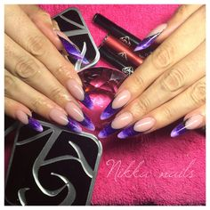 Nikka nails, long nails, purple, almond, extreme nails, french