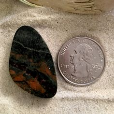 Basalt from Lake Michigan shaped and polished into a cabochon. Perfect for jewelry artists. Different Types Of Rocks, Stones For Jewelry Making, Lake Michigan, Rocks And Minerals, Fossils, Geology, Stone Jewelry, Natural Stones, Unique Gifts