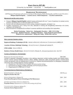 Medical Resumes Radiologic Technologist Resume Example  Rad Tech  Pinterest .