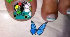 Luv Nails, Bella Nails, Cute Toe Nails, Crazy Nails, Toe Nail Color, Toe Nail Art, Nail Colors, Summer Toe Designs, French Pedicure