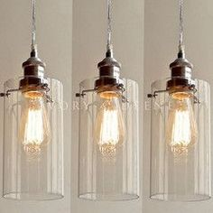 3 Allira Glass Pendants Filament Light Chrome Fittings Industrial Vintage  New