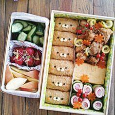 Bento bears. Japanese Food Art, Japanese Lunch, Cute Bento, Kawaii Bento, Bento Recipes, Bento Ideas, Cute Food, Yummy Food, Childrens Meals