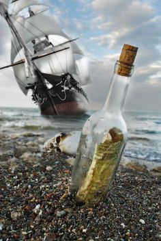 Tall Ship Message In A Bottle by Joseph Halasz - Arrgggh, a pirate ship be near. Get the message in a bottle – it has the bearings for a tr - Pirate Art, Pirate Life, Pirate Ships, Pirate Boats, Tall Ships, Bateau Pirate, Old Sailing Ships, Message In A Bottle, Liquor Bottles