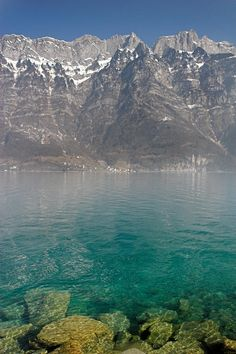 Blue Swiss Lagoon and the Alps - Switzerland