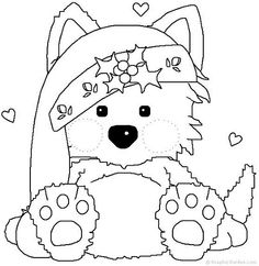 Christmas Puppy Coloring Pages To Print Coloring Coloring Pages