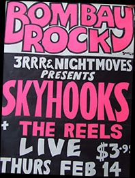 Poster for Skyhooks gig at Bombay Rock Victorian History, William Gibson, Rock Posters, Xmas Crafts, All About Time, November 2013, Musicians, Play, Cover