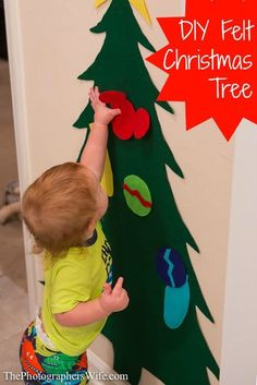 DIY Felt Christmas Tree - great for toddlers to decorate over and over again and leave the real tree alone! Cost = less than $10!