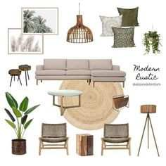 View this Interior Design Mood Board and more designs by Aimee & Co. Interior Styling on Style Sourcebook Boho Living Room, Living Room Interior, Jungle Living Room Decor, Living Room Inspiration, Home Decor Inspiration, Home Design, Interior Styling, Interior Design Mood Boards, Living Room Designs