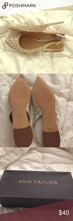Ann Taylor Tahilia slingback flats. Beautiful never worn slingback flats. Eggshell white. New in box Ann Taylor Shoes Flats & Loafers