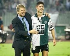 Young Cristiano Ronaldo with Mr Lazlo Böloni, the romanian coach who promoted him to the first team.