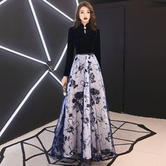 Affordable Chinese style Navy Blue Suede Evening Dresses 2019 A-Line / Princess High Neck Long Sleeve Sash Appliques Lace Floor-Length / Long Ruffle Formal Dresses - evening dress Glamorous Evening Dresses, Grey Evening Dresses, Burgundy Evening Dress, Dresses Elegant, Affordable Dresses, Sexy Dresses, Blue Dresses, Fashion Dresses, Formal Dresses