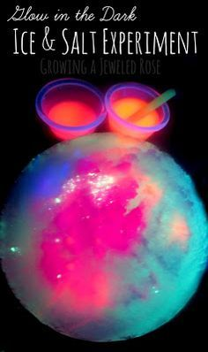 Glow in the dark experiments with ice & salt. Science and art come together in this fun activity for kids!