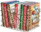Wire baskets are great for storing your Gooseberry Patch cookbooks! Art by Gooseberry Patch.