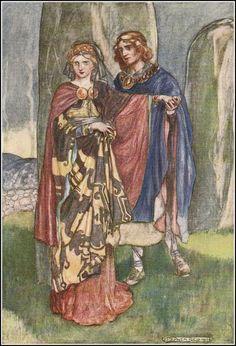 Emer, wife of Cu Chulainn, is an Irish mythological figure. Strong woman.