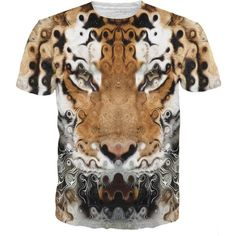 Tiger T-Shirt ($25) ❤ liked on Polyvore featuring tops, t-shirts, all over print tees, all over print t shirts, checkered t shirt and checkered top