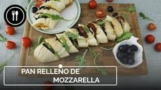 Hummus quartet: traditional, pesto, beet and piquillo. Baguette Relleno, Pan Relleno, Mozzarella, Hummus, Pesto, Sushi, Traditional, Ethnic Recipes, Food
