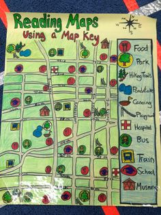 Reading maps: using a map key Classroom Fun, Future Classroom, Create A Map, 3rd Grade Social Studies, Map Skills, Anchor Charts, Projects For Kids, Geography, Curriculum