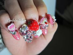 strawberry, glitter, diamond, rose, flower, super-glitter, crazy nail design. How does one function with these bad boys?