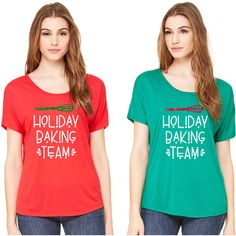 Holiday Baking Team Shirt Baking Shirt Group Baking Glitter Christmas... ($26) ❤ liked on Polyvore featuring tops, green, t-shirts, women's clothing, glitter top, holiday shirts, americana shirts, evening tops and cocktail shirts