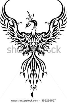 Phoenix Bird Tattoo-Fictional fiery bird phoenix in abstract flame - stock vector