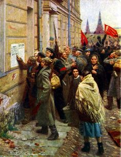 Red Guards reading a Bolshevik bulletin in Petrograd