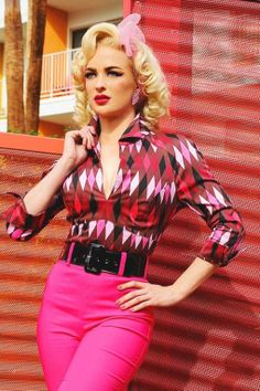 Pinup Couture - Lauren Top in Red and Chocolate Brown Harlequin Print
