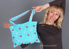 Turquoise crochet bag. Hand made bag. Shoulders by ArtSilkLana
