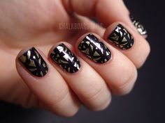 gold + black geometric #nail #polish