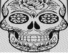 Flower Sugar Skull Alpha Art C2C crochet blanket pattern; afghan; graphgan pattern, cross stitch graph; pdf download; instant download